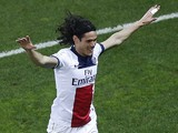 Paris Saint-Germain's Uruguayan forward Edinson Cavani celebrates after scoring a goal during the French L1 football match between Nice (OGCN) and Paris Saint-Germain (PSG) on March 28, 2014