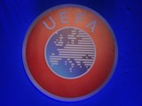 UEFA logo photographed on May 24, 2013