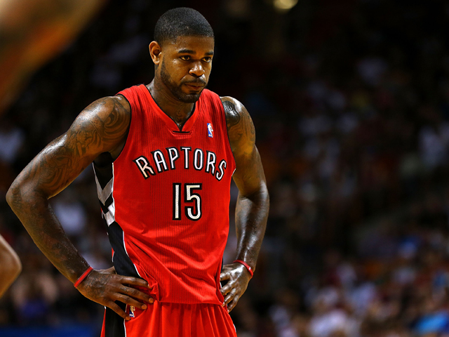 Amir Johnson #15 of the Toronto Raptors looks on during a game against the Miami Heat at AmericanAirlines Arena on January 5, 2014