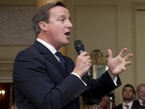 Prime Minister David Cameron speaks during an official reception at Downing Street on September 16, 2013