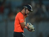 England captain Stuart Broad walks back to the pavilion after his dismissal during the ICC World Twenty20 tournament cricket match between Netherlands and England at The Zahur Ahmed Chowdhury Stadium in Chittagong on March 31, 2014