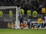 Juventus' Italian defender Leonardo Bonucci (R) scores during the UEFA Europa League (C3) quarter final football match Olympique Lyonnais (OL) vs Juventus Turin, on April 3, 2014