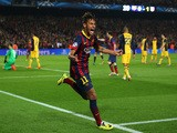 Neymar of Barcelona celebrates his goal during the UEFA Champions League Quarter Final first leg match against Atletico de Madrid on April 1, 2014