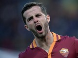 AS Roma's Bosnian midfielder Miralem Pjanic celebrates after scoring against Parma during the Serie A football match between AS Roma and Parma in Rome's Olympic Stadium on April 2, 2014