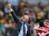 Manager Pepe Mel of West Brom celebrates their victory after the Barclays Premier League match between Norwich City and West Bromwich Albion at Carrow Road on April 5, 2014