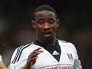 Moussa Dembele of Fulham during the Barclays Premier League match between Fulham and Everton at Craven Cottage on March 30, 2014