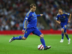 Oleg Gusev of Ukraine in action during the FIFA 2014 World Cup Group H qualifying match between England and Ukraine at Wembley Stadium on September 11, 2012
