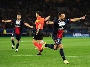 Ezequiel Lavezzi of PSG celebrates after scoring the opening goal during the UEFA Champions League quarter final, first leg match between Paris Saint Germain and Chelsea at Parc des Princes on April 2, 2014