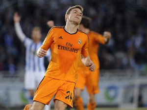Real Madrid's midfielder Asier Illarramendi celebrates after scoring during the Spanish league football match Real Sociedad vs Real Madrid CF at the Anoeta stadium in San Sebastian on April 5, 2014