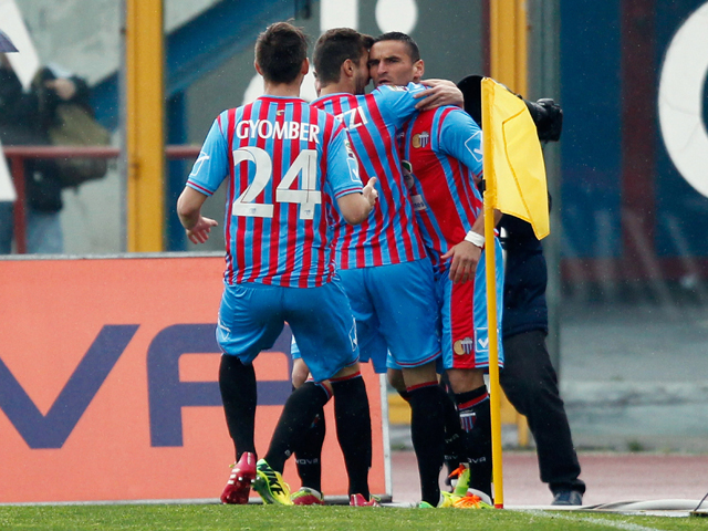 Gonzalo Bergessio of Catania celebrates after scoring the opening goal during the Serie A match between Calcio Catania and Torino FC at Stadio Angelo Massimino on April 6, 2014