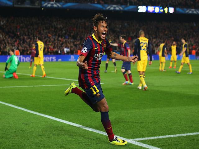 Neymar of Barcelona celebrates his goal during the UEFA Champions League Quarter Final first leg match against Atletico de Madrid on April 1, 2014