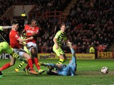Marvin Sordell of Charlton scores Charlton's 3rd goal during the Sky Bet Championship match between Charlton Athletic and Yeovil Town at The Valley on April 8, 2014