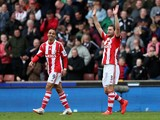 Erik Pieters of Stoke City celebrates scoring the first goal during the Barclays Premier League match between Stoke City and Newcastle United at Britannia Stadium on April 12, 2014
