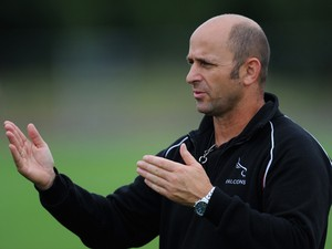 Newcastle Falcons Head Peter Russell in action during Falcons training at Kingston Park on August 6, 2013