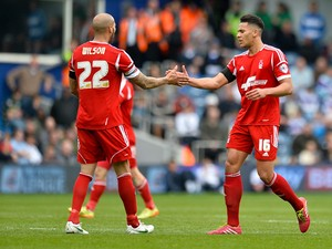 Jamaal Lascelles of Nottingham Forest celebrates scoring Forest's 1st goal during the Sky Bet Championship match between Queens Park Rangers and Nottingham Forest at Loftus Road on April 12, 2014