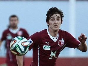 Rubin Kazan's Sardar Azmoun in action against Rostov during the Russian Premier League match on March 30, 2014
