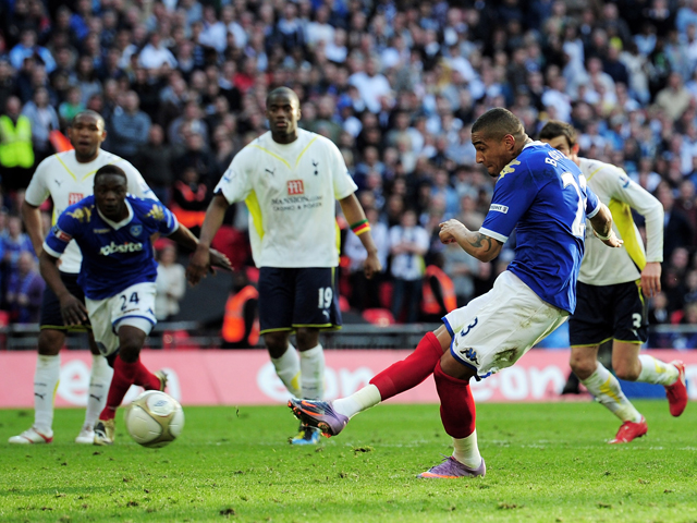 Kevin-Prince Boateng of Portsmouth scores from the penalty spot during the FA Cup sponsored by E.ON Semi Final match between Tottenham Hotspur and Portsmouth at Wembley Stadium on April 11, 2010