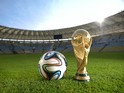 A general view of Brazuca and the FIFA World Cup Trophy at the Maracana before the adidas Brazuca launch on December 3, 2013 in Rio de Janeiro, Brazil