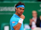Fabio Fognini celebrates his win over Robert Bautista in the Monte Carlo Masters second round on April 16, 2014