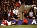 Manchester United's Ryan Giggs scores against Arsenal at Villa Park on April 14, 1999.