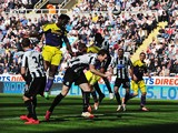 Wilfried Bony of Swansea City rises to score their first goal with a header during the Barclays Premier League match between Newcastle United and Swansea City at St James' Park on April 19, 2014