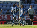 Martyn Waghorn of Wigan Athletic celebrates after scoring the second goal during the Sky Bet Championship match between Wigan Athletic and Reading at DW Stadium on April 18, 2014