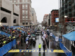 Former Boston mayor Thomas Menino, mayor Marty Walsh and U.S. Vice President Joe Biden at a ceremony before the Boston Marathon on April 16, 2014