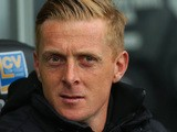 Swansea manager Garry Monk looks on prior to kick-off in the Premier League match against Aston Villa on April 26, 2014