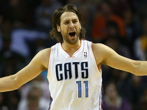 Josh McRoberts #11 of the Charlotte Bobcats reacts after a call during their game against the Los Angeles Lakers at Time Warner Cable Arena on December 14, 2013