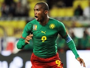 Chelsea striker Samuel Eto'o in action for Cameroon on March 03, 2010.