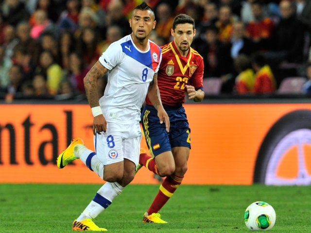 Juventus midfielder Arturo Vidal in action for Chile against Spain on September 10, 2013.