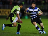 Matt Banahan of Bath takes on Luther Burrell of Northampton Saints during the Aviva Premiership match between Bath and Northampton Saints at The Recreation Ground on May 2, 2014
