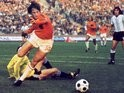 Johan Cruyff scores for Holland against Argentina on June 26, 1974.