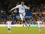 Carlo Costly celebrates scoring for Honduras against Ecuador on November 19, 2013.