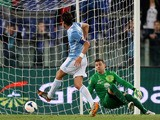 Stefano Mauri of SS Lazio scores the third team's goal during the Serie A match between SS Lazio and Hellas Verona FC at Stadio Olimpico on May 5, 2014