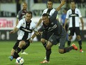 Antonio Cassano of Parma FC competes for the ball with Ramos Borges Emerson of AS Livorno Calcio during the Serie A match on May 18, 2014
