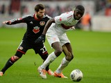 Stuttgart's defender Antonio Rudiger and Leverkusen's midfielder Gonzalo Castro vie for the ball during the German first division Bundesliga football match Bayer Leverkusen vs VfB Stuttgart in Leverkusen, western Germany on February 1, 2014