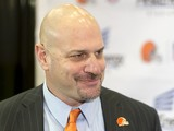 Cleveland Browns new head coach Mike Pettine fields questions from the media during a press conference to announce his hiring at the Browns training facility on January 23, 2014