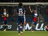 Paris' Brazilian forward Lucas Moura celebrates after scoring a goal during the French L1 football match between Paris Saint-Germain (PSG) and Montpellier (MHSC) on May 17, 2014
