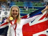 Great Britain's Rebecca Adlington poses with the gold medal that she won at the Beijing Olympics on August 16, 2008.
