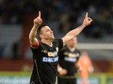Antonio Di Natale of Udinese Calcio celebrates after scoring his opening goal during the Serie A match between Udinese Calcio and Sampdoria at Stadio Friuli on May 17, 2014