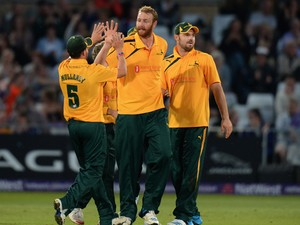 Andy Carter of Nottinghamshire Outlaws celebrates taking the wicket of Jordan Clark of Lancashire Lightning during the NatWest T20 Blast match between Nottinghamshire Outlaws and Lancashire Lightning at Trent Bridge on May 16, 2014