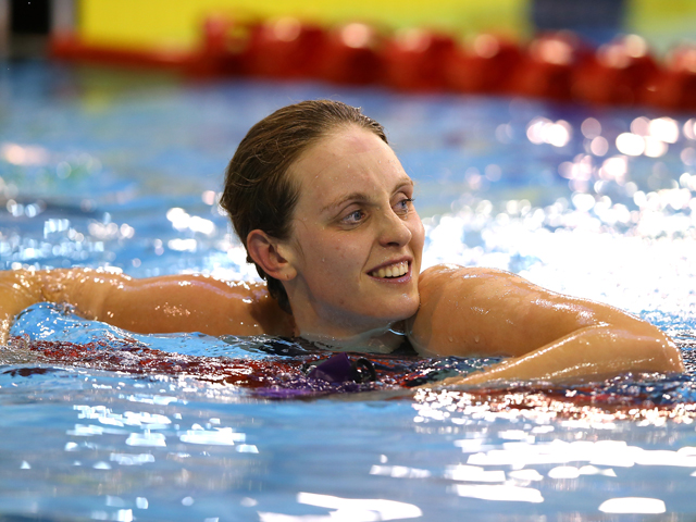 Francesca Halsall looks on after winning the Women's 50m Butterfly Final on day four of the British Gas Swimming Championships 2014 at Tollcross International Swimming Centre on April 13, 2014