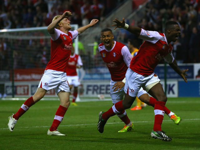 Kieran Agard of Rotherham United celebrates his goal during the Sky Bet League One Play Off Semi Final Second Leg between at Rotherham United and Preston North End at The New York Stadium on May 15, 2014