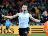 Barcelona's Andres Iniesta celebrates scoring the winner for Spain in the World Cup final on July 11, 2010.