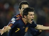 Atletico Madrid striker David Villa celebrates scoring for Spain at the World cup on July 03, 2010.