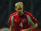 Former Liverpool defender Stephane Henchoz in action for Switzerland on April 28, 2004.