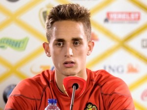 Belgium's forward Adnan Januzaj gives his first press conference with the national team on May 19, 2014