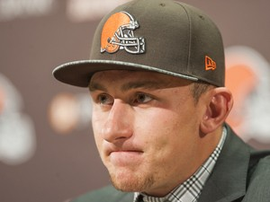 Cleveland Browns draft pick Johnny Manziel answers questions during a press conference at the Browns training facility on May 9, 2014