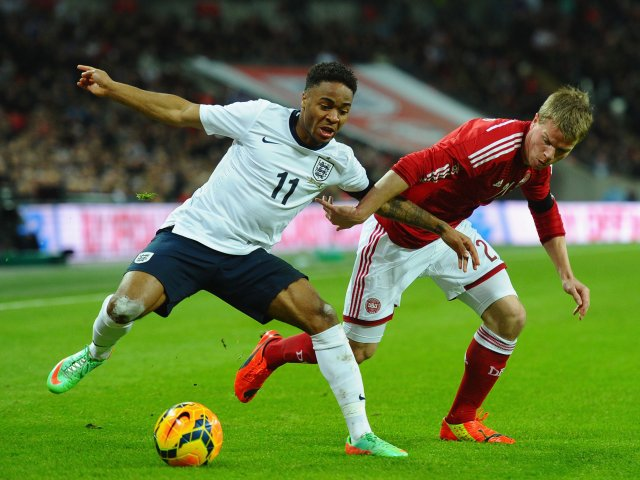 Liverpool winger Raheem Sterling in action for England against Denmark on March 05, 2014.